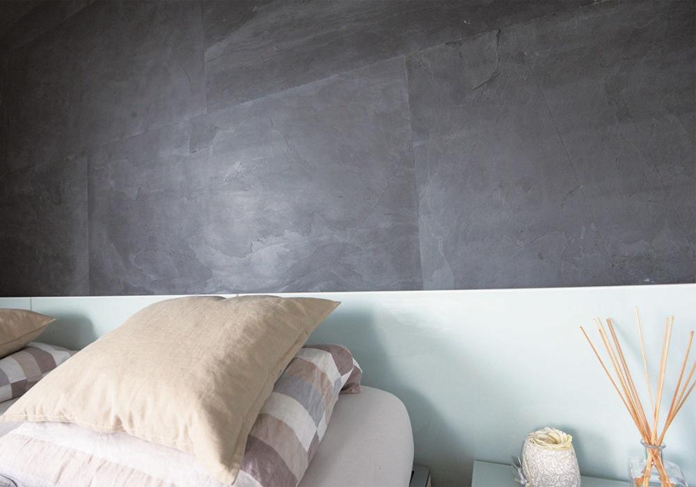 Schlafzimmer-Wand Steel black