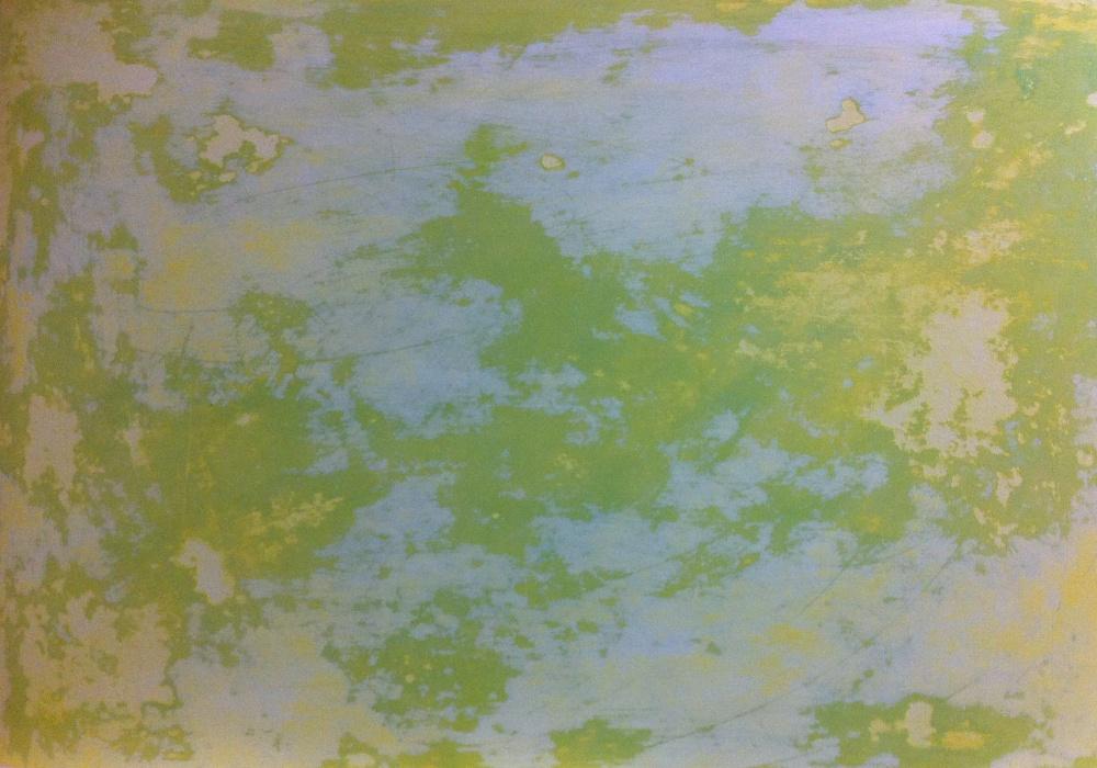 Kalkputztechn weiss gelb grün pigment. Vintage