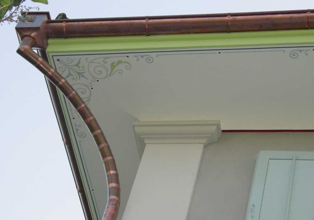 Schablonierungen an der Dachuntersich, EFH Dietikon.